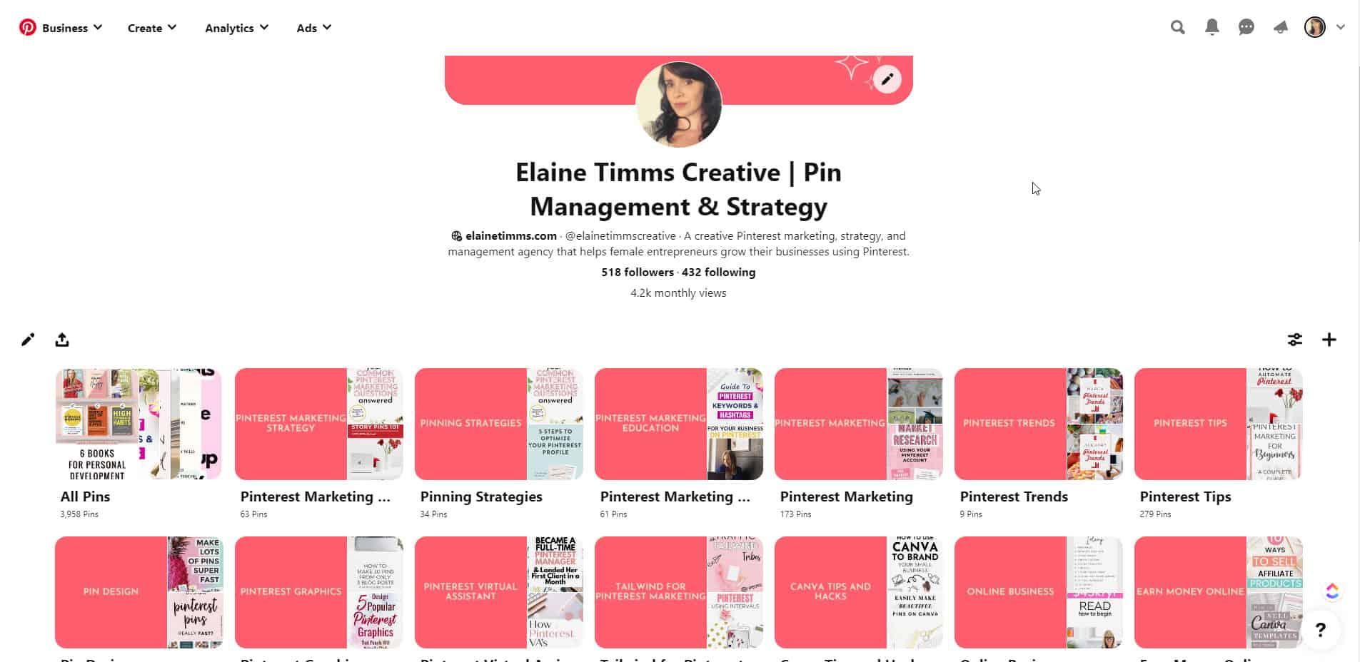 The first pillar of Pinterest marketing is an optimized Pinterest business account.