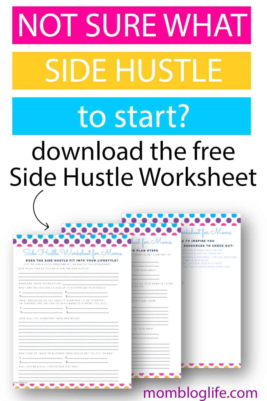 Side hustle worksheet for moms