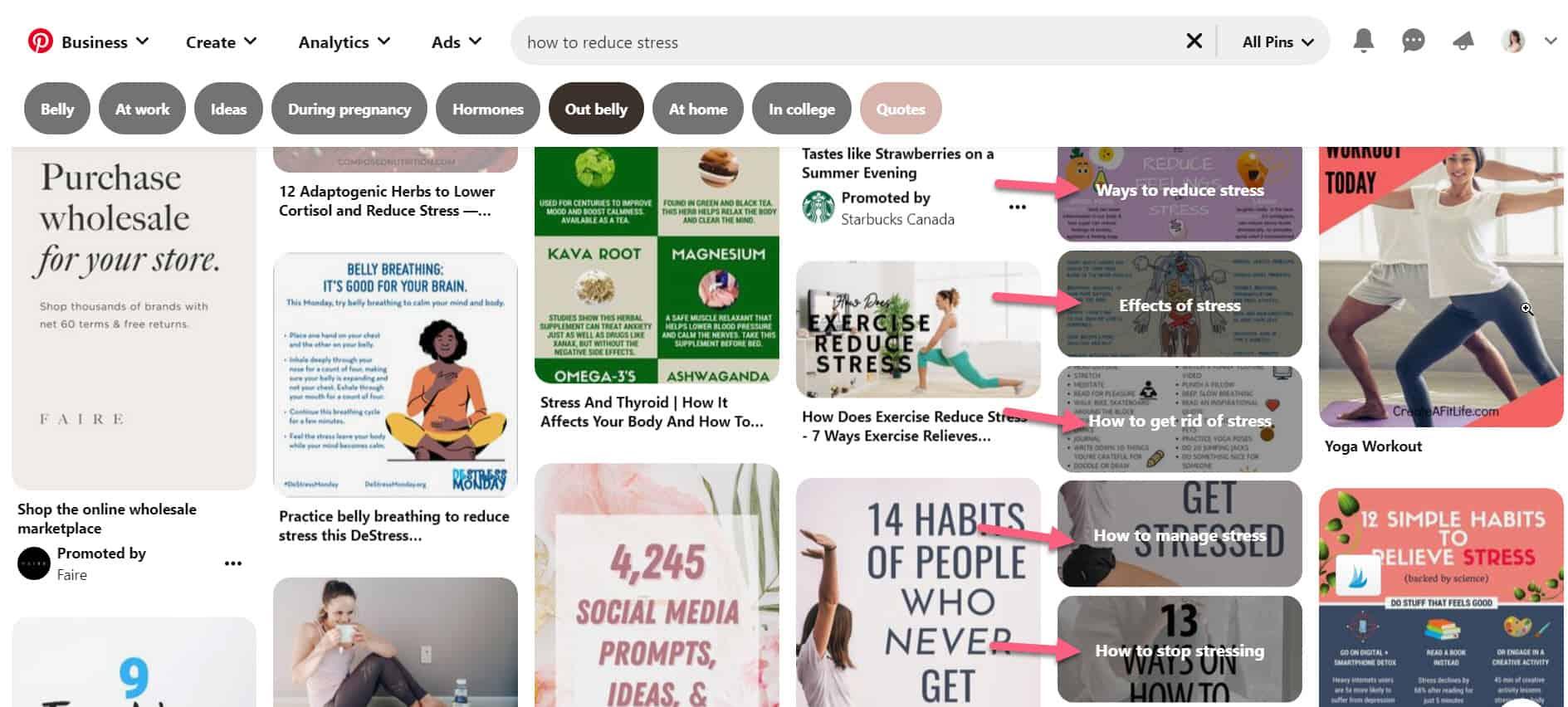 Finding related keywords on Pinterest